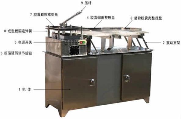 实验室半自动胶囊机机器结构示意图