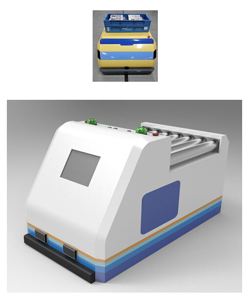 牵引式agv搬运灵活,小车运行至物料车前,自动将物料车的拉柱挂上图片